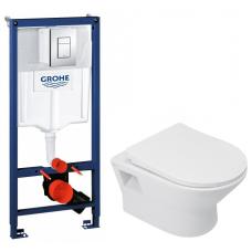 Комплект: Инсталляционная система Grohe Rapid SL 38772001 + Подвесной унитаз Qtap Lark белый с сидением дюропласт soft-close, QT0331159W