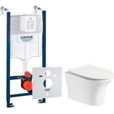 Комплект: Инсталляционная система Grohe Rapid SL 3884000G  + Подвесной унитаз Rosa Toch белый с сидением дюропласт soft-close, R-2617E