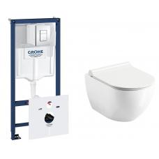 Комплект: Инсталляция Grohe Rapid SL (38772001) и Унитаз подвесной Ravak Uni Chrome RimOff (X01535)
