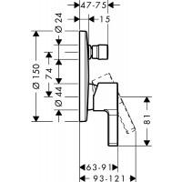 Внешняя часть смесителя для ванны, Hansgrohe Metris S, 31465000