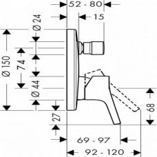 Внешняя часть смесителя для ванны, Hansgrohe Talis S, 72405000