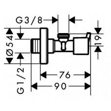 Угловой запорный вентиль Hansgrohe S, 13901000