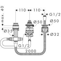 Скрытая часть на три отверстия для установки смесителя на борт ванны HANSGROHE 13439180