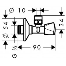 Угловой запорный вентиль Hansgrohe E, 13902000