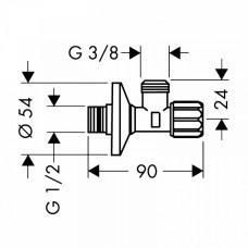 Угловой запорный вентиль Hansgrohe, 13904000