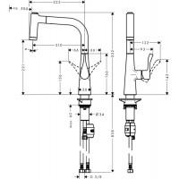 Смеситель для кухни Hansgrohe Metris, 14834000