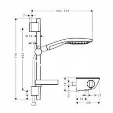 Термостат для душа с гарнитуром Hansgrohe  RAINDANCE Select, 27036400