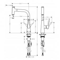 Смеситель для кухни Hansgrohe Metris Select, 14857000