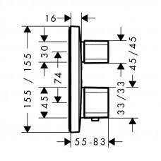 Внешняя часть термостата для душа Hansgrohe Ecostat E, 15707000
