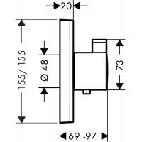 Внешняя часть термостата для душа Hansgrohe ShowerSelect Highfow, 15760000