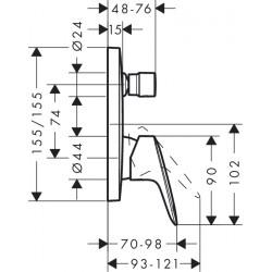 Внешняя часть смесителя для ванны, Hansgrohe Logis, 71405000