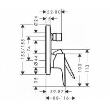 Смеситель для ванны однорычажный Hansgrohe Talis E, 71745000