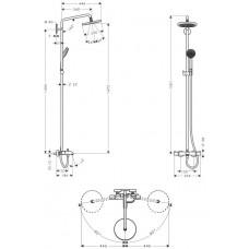 Душевая система Hansgrohe Croma 220 Showerpipe +термостат 27223000
