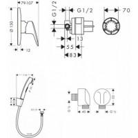 Набор скрытого монтажа с гигиенической лейкой Hansgrohe Logis, 1102019 (71666000+27454000+32129000)