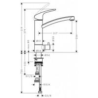 Смеситель для кухни однорычажный с запорным вентилем к посудомоечной машине Hansgrohe Focus E2 31803000