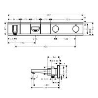 Внешняя часть смесителя для ванны на 2 потребителя с изливом Hansgrohe RainSelect, 15359600