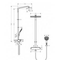 Душевая система Hansgrohe Raindance Select E Air 1jet 360 мм Showerpipe, белый/хром ( 27112400 )