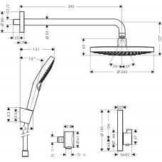 Набор для комплектации душа  HANSGROHE ShowerSet Raindance Select S/ShowerSelect S Душевой набор (верхний, ручной душ, ibox, термостат) ( 27297000 )