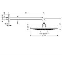Верхний душ с кронштейном Hansgrone Raindance Select S 300 2jet, 27378400