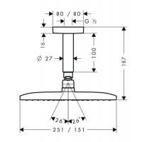 Верхний душ с потолочным кронштейном Hansgrohe Raindance E 240 Air 1jet, 27380000