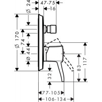 Внешняя часть смесителя для душа Hansgrohe Metropol Classic, 31345000