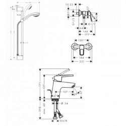 Набор смесителей для душа Hansgrohe Logis Loop, 1052017