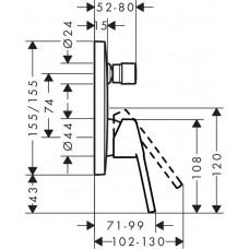 Верхняя часть смесителя для ванны HANSGROHE Logis Loop 71264000