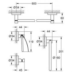 Набор аксессуаров Grohe Essentials 4в1, 40776001