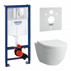 Комплект: Инсталляционная система Grohe Rapid SL + подвесной унитаз Laufen Pro с крышкой, 38721956