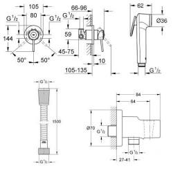 Гигиенический комплект скрытого монтажа GROHE BauClassic, 111048