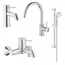 Набор смесителей BauClassic 4 в 1 для ванны и кухни 123869K