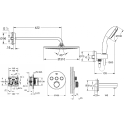 Набор скрытого монтажа для душа Grohe Grohtherm SmartControl, 26406SC2