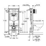 СЕТ:  Grohe RAPID SL 4 in 1 +  ROCA GAP  Clean Rim подвесной унитаз + soft (38721001+A34H47C000)