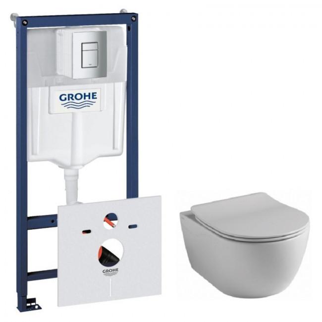 Комплект: Инсталляционная система Grohe Rapid SL + подвесной унитаз Rostriks CHROME