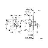 Смеситель с переключателем на 2 положения для ванны Grohe BauFlow 29045000