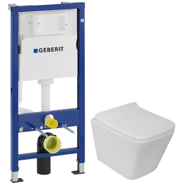 Комплект: Инсталляция Geberit DuofixBasic 2в1 (458.103.00.1) + Унитаз подвесной Rostriks UNO Corta укороченный безободковый с сидением дюропласт soft-close