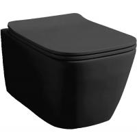 Комплект: Инсталляция Geberit DuofixBasic 2в1 (458.103.00.1)+ Клавиша смыва Geberit DELTA 51+ Унитаз подвесной Rostriks Uno Corta Black matte безободковый с сидением дюропласт soft-close