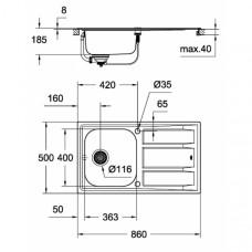 Кухонная мойка GroheEXSink K40031566SD0