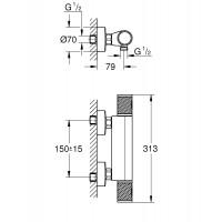 Смеситель-термостат для душа Grohe Grohtherm 1000 Performance 34776000
