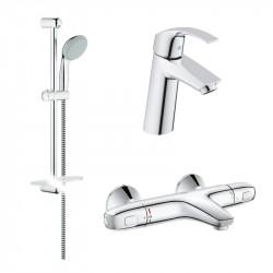 Набор смесителей для умывальника, ванны и душевая стойка Grohe GRT1000+Eurosmart 34101TM (23324001+34155003+27926000)