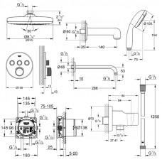 Набор для душа/ванной скрытого монтажа на 3 потребителя Grohe Smart Control 34614SC2