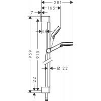 Душевой набор Hansgrohe Crometta Vario 90 см EcoSmart белый/хром 26538400