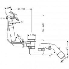 Сифон для ванны Hansgrohe Exafill Basic с наполнением 58125180