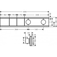 Термостат Hansgrohe RainSelect скрытого монтажа на 2 потребителя Polished Gold Optic 15380990