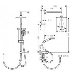 Душевая система Hansgrohe Vernis Blend Showerpipe 200 1jet Reno EcoSmart 26099670 черный матовый