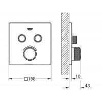 Термостат для встраиваемого монтажа на 2 выхода Grohe Grohtherm SmartControl 29124DC0