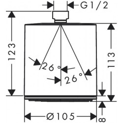Верхний душ Hansgrohe Pulsify 105 1jet 24130000 хром
