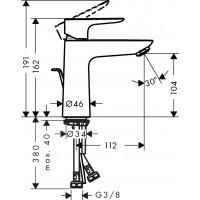 Смеситель для раковины Hansgrohe Talis E 110 с донным клапаном pop-up Brushed Black 71710340