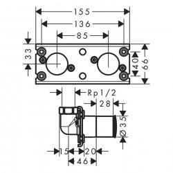 Скрытая часть Hansgrohe Rainfinity для Showerpipe 360 1jet для скрытого монтажа, хром 26840180
