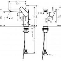 Смеситель для раковины Hansgrohe Talis E 150 с донным клапаном Matt Black 71754670